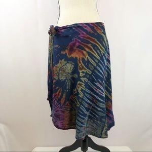Hippie Boho Style Tie Dye Wrap Around Skirt